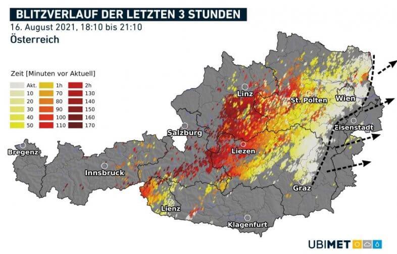 Blitze der letzten drei Stunden bis 21:10 Uhr - nowcast, UBIMET