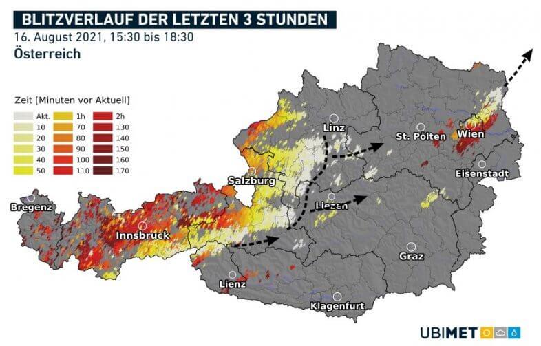 Blitze der letzten dre Stunden bis 18:30 Uhr - nowcast, UBIMET