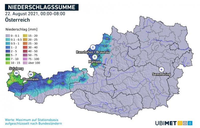 Regensumme in den Morgenstunden am Sonntag - UBIMET, ZAMG