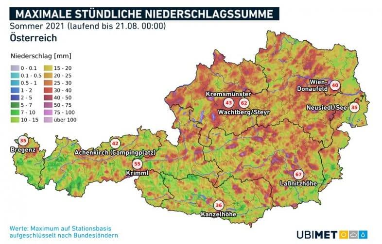 Maximale stündliche Regenraten im Sommer 2021 (bis zum 21.08.) - UBIMET