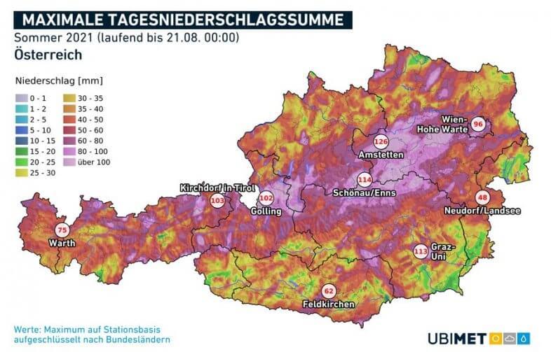 Maximale tägliche Niederschlagssumme im Sommer 2021 (bis zum 21.08.) - UBIMET