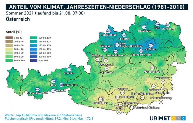 Anteil (in %) der klimatologischen Sommerniederschläge, der bis zum 21.08. bereits gefallen ist - UBIMET