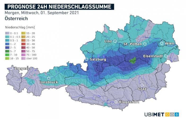 Prognose der Niederschlagsmenge am Mittwoch - UBIMET UCM Modell