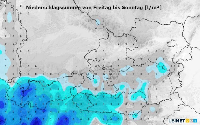 Niederschlagssumme am Freitag, Samstag und Sonntag - UBIMET UCM-Modell