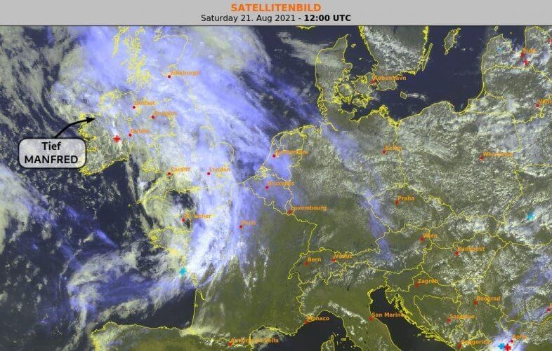 Satellitenbild am 21.08.2021 um 14 Uhr - EUMETSAT, UBIMET