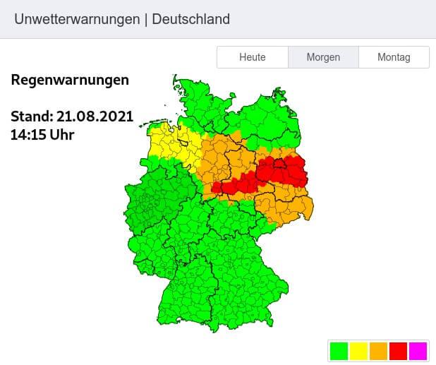Warnungen vor Starkregen gültig von Sonntagvormittag bis Montagabend (Stand 21.08.2021 um 14:15 Uhr) - UWR