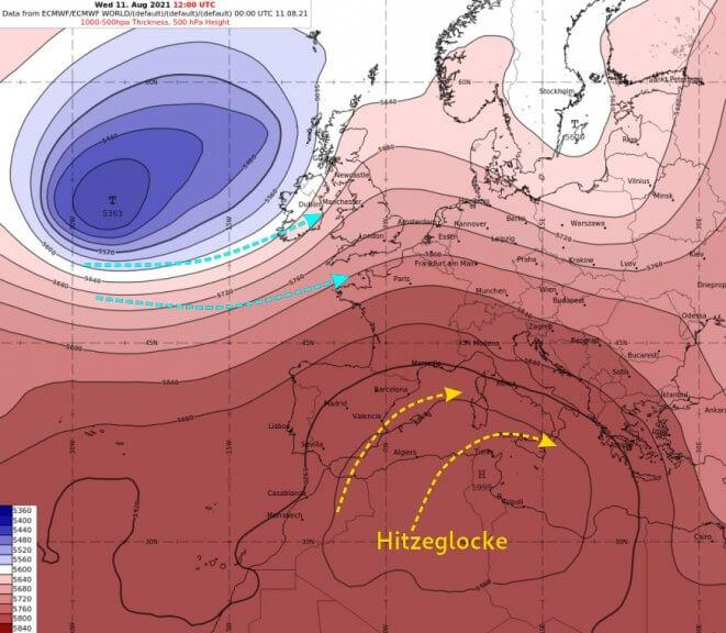 Großwetterlage am Mittwoch über Europa - ECMWF IFS Modell, UBIMET