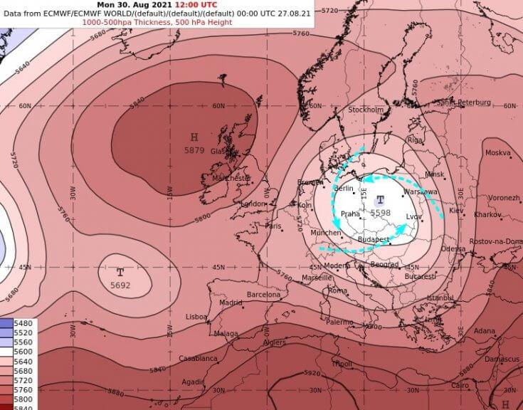 Die Großwetterlage ändert sich bis Mittwoch kaum: Tief NICK verbleibt über mehrere Tage hinweg über Polen - ECMWF IFS Modell für den Montag