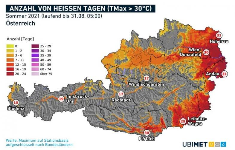 Hitzetage im Sommer 2021 - UBIMET