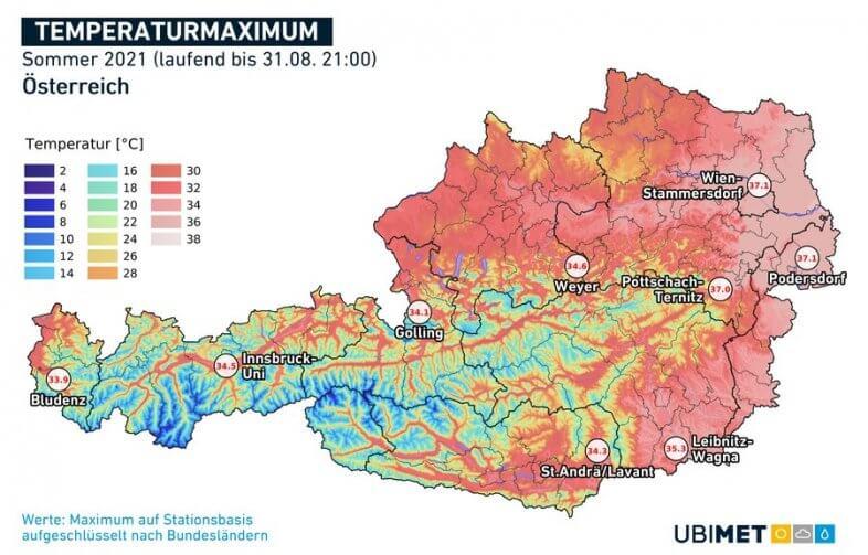 Höchstwerte des Sommers 2021 - UBIMET