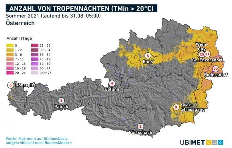 Tropennächte (Temperaturminimum über 20 Grad) im Sommer 2021 - UBIMET