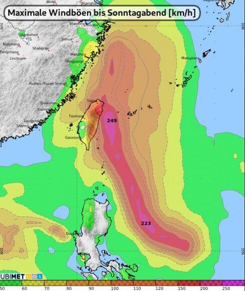 Maximale Windböen (km/h) im Westpazifik bis Sonntagabend - UBIMET, ECMWF IFS Modell