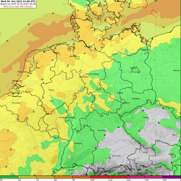 Prognose der maximalen Windgeschwindigkeiten bis Mittwoch (20.10.2021) Nacht @ UBIMET UCM
