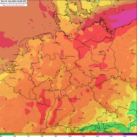 Prognose der maximalen Windgeschwindigkeiten zwischen Mittwoch Nacht (20.10.2021) und Donnerstag (21.10.2021) Nacht @ UBIMET UCM