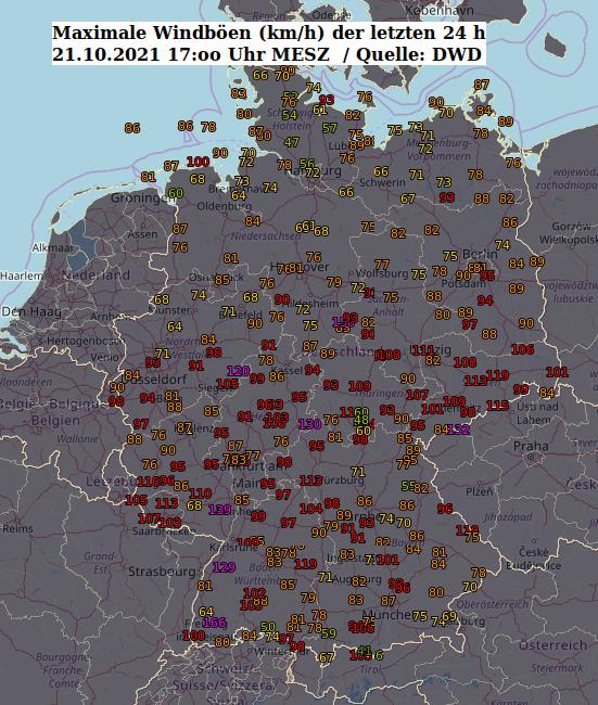 Maximalböen der vergangenen 24 Stunden, 21. Oktober 2021, 17:00 Uhr MESZ (Quelle: DWD)