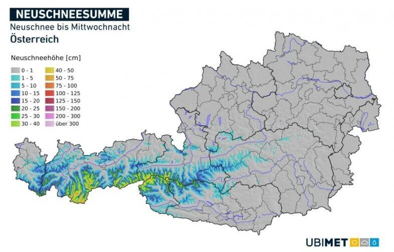 Prognose der akkumulierten Neuschneemenge bis Mittwochnacht - UBIMET UCM-Modell