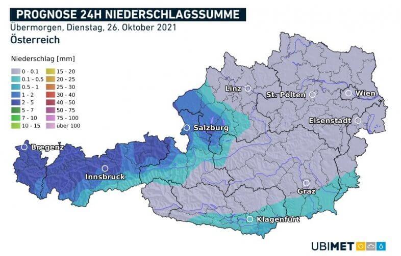 Niederschlagsprognose für den Nationalfeiertag - UBIMET UCM Modell