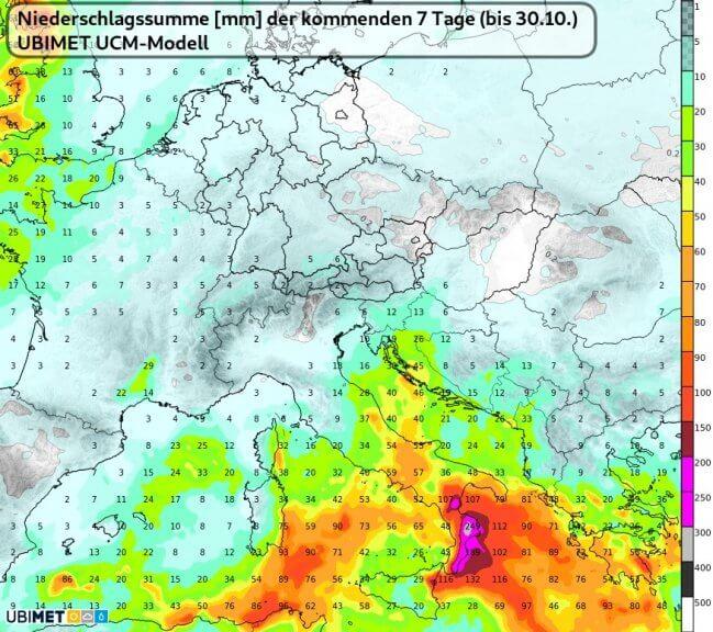 Regensumme der kommenden 7 Tage bis Samstag 30.10.2021 - UBIMET UCM-Modell