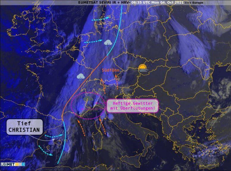 Satellitenbild und Wetterlage am Montagmorgen - UBIMET, EUMETSAT