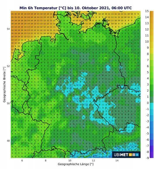 Tiefste Temperaturen - Nach auf Sonntag 10.10.2021 © UBIMET UCM